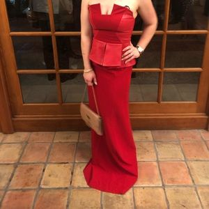 BLACK HALO EVE RED LEATHER LENA STRAPLESS DRESS